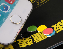 Wholesale Iphone Home Stickers - Colorful Metal Aluminium Home Button Sticker Decoration for iphone 5 5S 5C in retail Pack