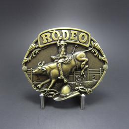 Hebillas de rodeo online-Venta al por menor al por menor de la hebilla del cinturón de bronce antiguo plateado Bull Rodeo Western Cowboy cinturón hebilla BUCKLE-WT085AB envío gratis