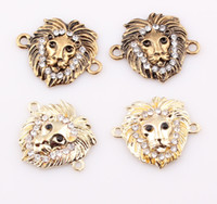 Wholesale Rhinestone Connectors For Bracelets - NEW Sideways Crystal Lion Connector Rhinestone Lion Head Link Charms Connectors for DIY Shamballa Bracelet Making ZBE157