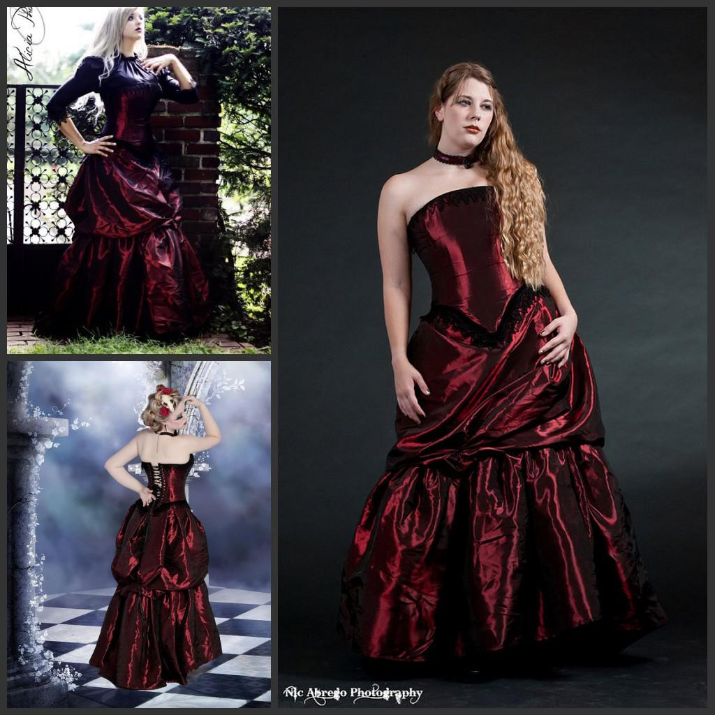 Hot Sale Sweetheart Corset Gothic Purple Wedding Dress: Victorian Dresses 2014 Vampire Steampunk Dress Alternative