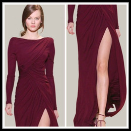 Wholesale Elie Saab Chiffon Slit - Hot Sale Elie Saab Dress Free Shipping Burgundy Evening Dresses Long Sleeve Ruffles Wedding Party Gown Square Side Slit Chiffon Simple Gowns