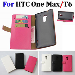 Wholesale Buy Leather Wallet - Luxury Wallet Credit Card Holder Folio Flip Stand Leather Case Cover Skin Pouch for HTC One Max T6 Leather Case FREE SHIPPING