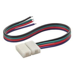 Conector de tira impermeável on-line-4PIN 10 MM RGB CONDUZIU a Luz de Tira Conectores Solderless com 15 CM de Fio Desencapado para RGB LED Controlador não À Prova D 'Água