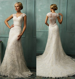 Wholesale 2014 New Sexy V Neck Lace Applique A line Illusion Wedding Dresses Ruffles Bridal Gown AmeliaSposa Collection Covered Button Wedding Dress