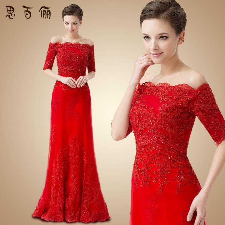 Discount 2013 New Fashion Red Long Design Lace Formal Dress Lace