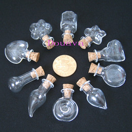 Wholesale Clear Glass Lockets Wholesale - 100 Clear MIX Glass bottle vial cork perfume pendant oil bottle handmade vials
