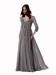 Discount Sexy Dresses UK - 2016 dresses Top Selling V-Neck 3 4 Sleeve Sexy Mother Of The Bride Dresses Discount Off Chiffon Hot Sell Mother Dresses