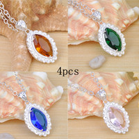 Wholesale Necklace Brazilian - 4 piece lot free shipping Fashion blue green Brazilian Citrine stone Perfection Handmade Women jewelry Pendant with chain necklace