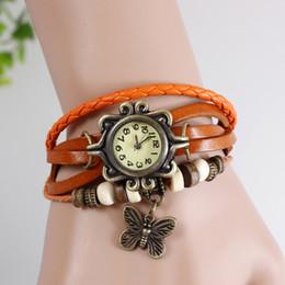 Wholesale Vintage Watch Leather Bracelet - 7 COLOR Vintage Retro Ladies Girl Montre Bead Butterfly Pendant Brown Bracelet Belt Bangle Quartz Wrist Women Dress Gift Watch