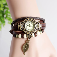 Vente de Crazy Retro Quartz Weave Wrap Around Leather Bracelet Femmes Femmes Feuille Arbre filles LADIES Montre