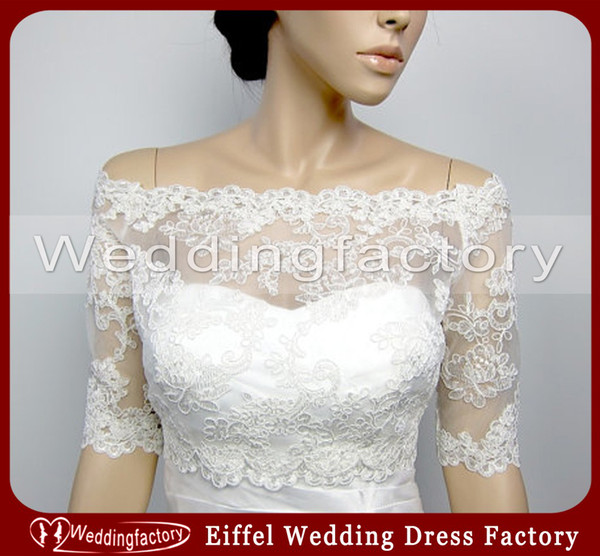 best selling Gorgeous Off Shoulder Jackets Short Sleeves White Ivory Bridal Jackets Ladies Jackets for Wedding Made of Lace Over Mini Coat
