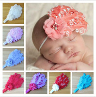 Wholesale Wholesale Curled Feather Headbands - Baby Headbands Nagorie Pad Feather Headband with handmade pearl flowers Curled Feather Headband girls hair accessories 12colors dropshipping