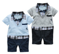 Wholesale Long Sleeve Romper Shorts Wholesale - Wholesale Baby romper with plaid shirt and V-neck sweater  Short-sleeved boy romper in preppy style   2 colors