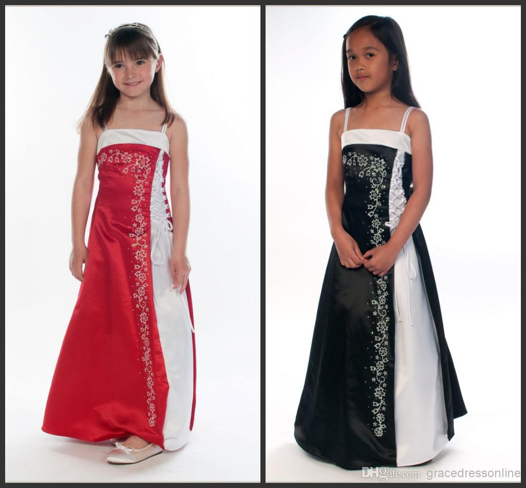 2014 beautiful red and white junior bridesmaid dresses black and 2014 beautiful red and white junior bridesmaid dresses black and white a line spaghetti ankle length girl gowns bow embroidery satin dress bridesmaid ombrellifo Image collections