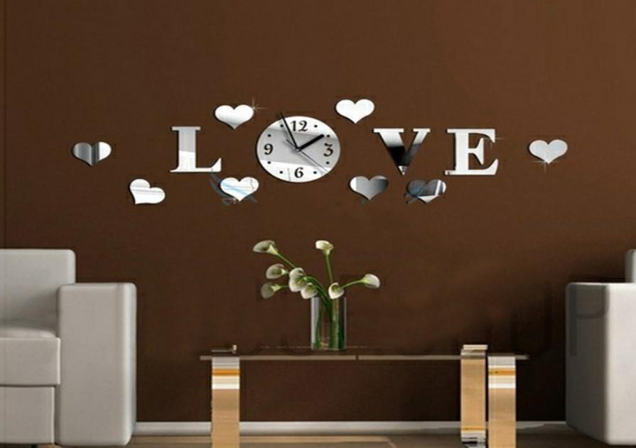 3d Mirror Wall Clock Home Decoration Diy Crystal Love Heart Antique Children S Art Removable Decor Graphics