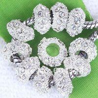 хрустальные стразы 11мм оптовых-11MM Clear Rhinestone Crystal , Rondelle Spacers, Metal Silver Plated Crystal Big Hole European  Fit Bracelets-100PCS