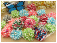 Wholesale Chevron Flowers For Headband - Children's Hair Accessories Chevron Flower chiffon hair flowers with diamond and pearl for headband Christmas Baby Accessories