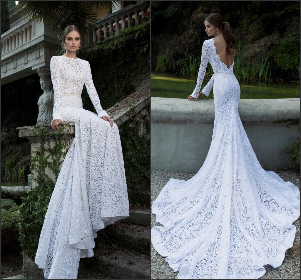 2014 Berta Full Lace Wedding Dresses Bateau Neckline Deep V ...