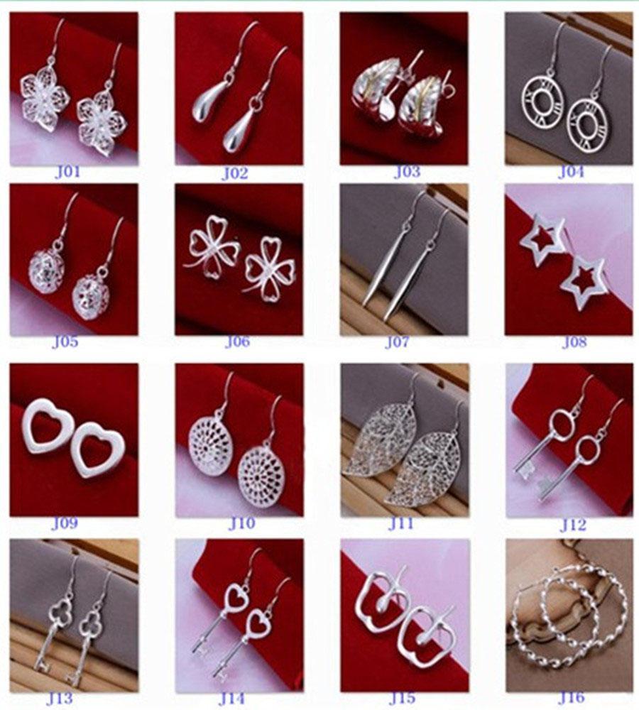 Новый 925 серебряные ювелирные изделия очаровательные женские девушки мотаться серьги мульти выбор серьги Бесплатная доставка Mix стиль лучший день Святого Валентина