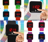Wholesale Screen Color Squares - 2014 Fashion Touch Screen Mirror LED Date Silicone Men Lady Outdoor Sport Watch candy color men women led watches 50pcs DHL free