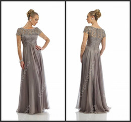 Wholesale Scoop Line Formal Dress - Custom made 2014 Elegant Beaded Sequins Lace A-line Scoop Neck Cap Sleeves Sexy Mother of the Bride Dresses Formal Dress Morr14445
