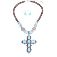 Wholesale Turquoise Bubble Necklace Wholesale - Bubble Bib Statement Necklace Earring Set Turquoise Cross Pendant Chain Jewelry For Women GCK*5