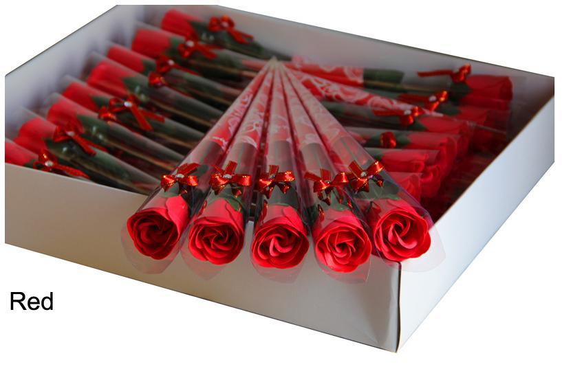 2015バレンタインレッドローズ石鹸の花ロマンチックな風呂の花の石鹸のためのガールフレンドの結婚式の好みのお好みのお好みのお祝いパーティーの供給Dec1201