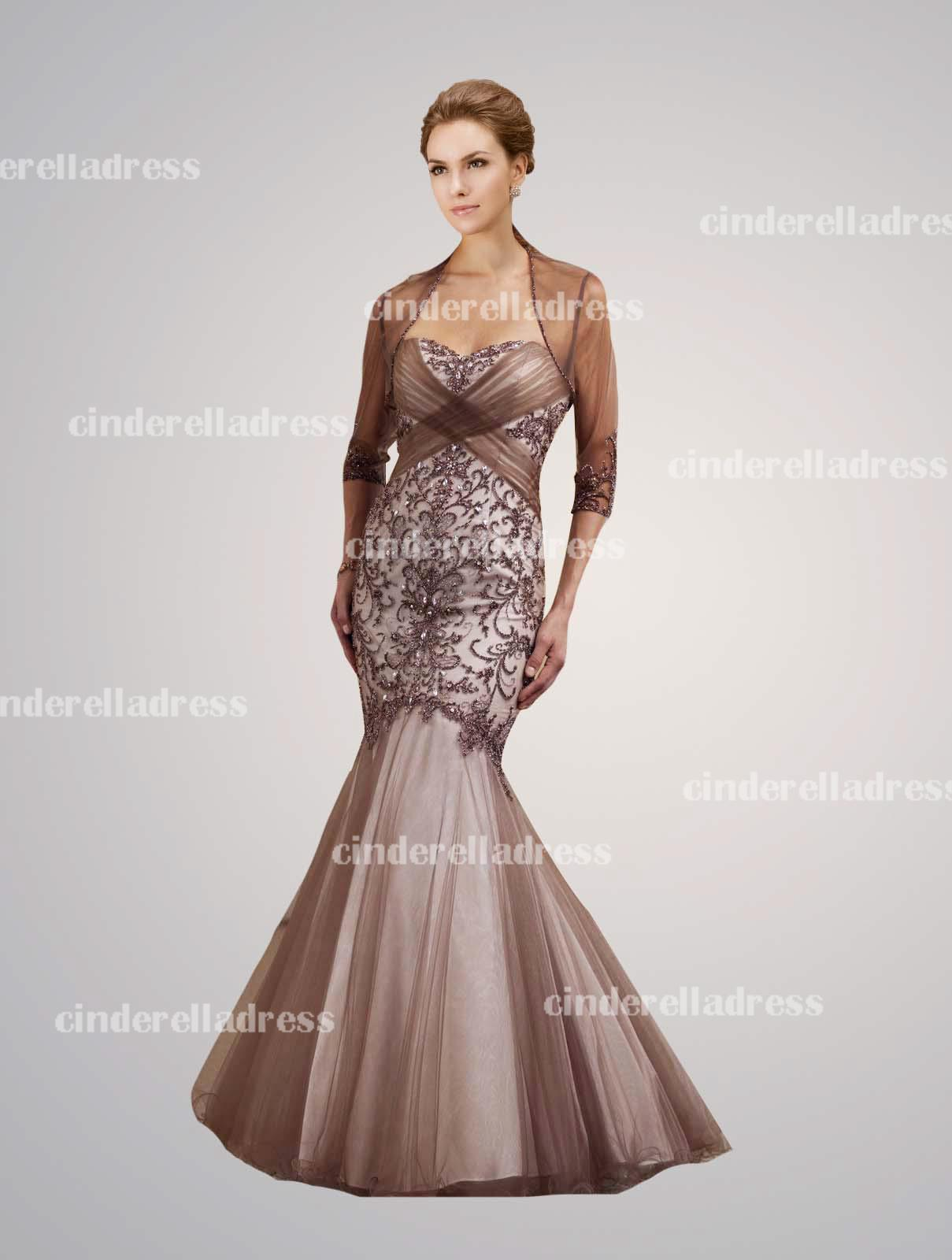 2014 New Mother of the Bride Dresses Sweetheart Bolero Half Sleeves Tulle Crystals Floor-length Vintage Evening Dresses 111D06