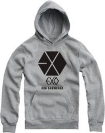 Wholesale Exo Shirts - 2014 New Hot EXO long sleeve T-SHIRT Women Men hoodies Couple SHIRT SHOWCASE t-shrts Fleece Sweatshirts