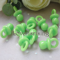Wholesale Charms Baby Shower - Wholesale-Hot Sale-Free shipping-100pcs Mini Acrylic Solid Green Baby Pacifier Baby Shower Favors~Cute Charms