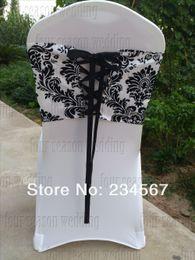 Wholesale Damask Sashes - Free Shipping 50pcs White and Black flocking taffeta chair cover sash also call elegance damask corset chair sash