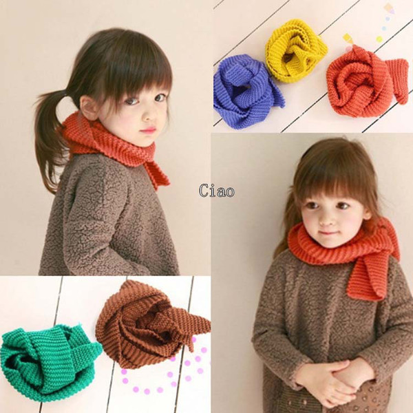 top popular Kids Scarf Girls Scarves Child Neckerchief Autumn And Winter Scarf Knitted Scarves Fashion Warm Neckerchief Children's Scarves Baby Scarf 2021