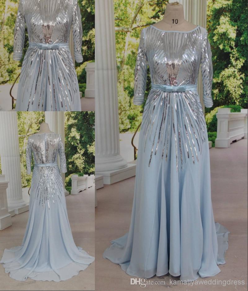 Light blue long sleeve sequin dress