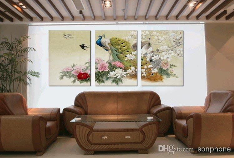 Framed 3 Panel Large Peacock Wall Art Chinese Style Oil Painting ...