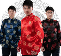 Wholesale Men Red Tang Suit - Shanghai Story Long Sleeve National Chinese costume Traditional Chinese ethnic clothing Tang suit mandarin collar shirt Kungfu jacket