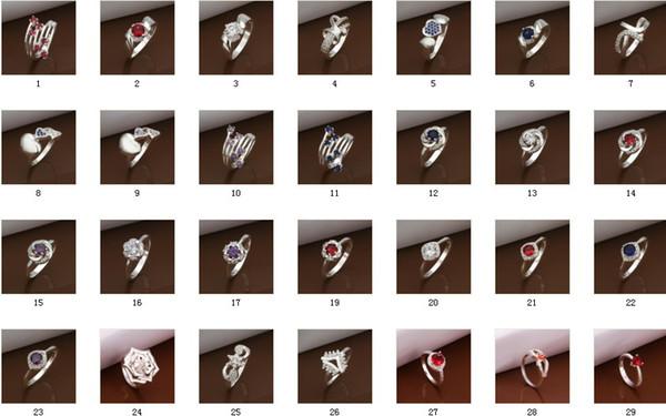 Горячие продажи смешанный заказ Multi стили стерлингового серебра 925 мода Vogue кольца Кристалл Band edge камень кольца лучший подарок на годовщину 30 шт.