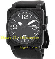 Wholesale Watch Pvd Movement - Mens Luxury Watch AAA Top quality Black Dial with Black PVD 01-92 Edition Rubber Band Automatic Men's Watches WristWatches Sport Movement