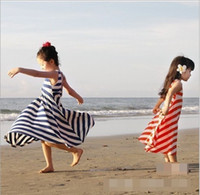 Wholesale striped tank top dress - Sweet Grils Summer New Princess Dresses Sleeveless Kids Clothes Baby Girls Striped Beach Long Dress Child Vest Tank Top Stripe Dressy D1522