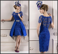 Wholesale Mother Short Dress Evening - 2015 Modest Custom made Elegant Mother Lace Royal Blue Short Sleeves Evening Dress  Mother of the bride Dresses free shipping