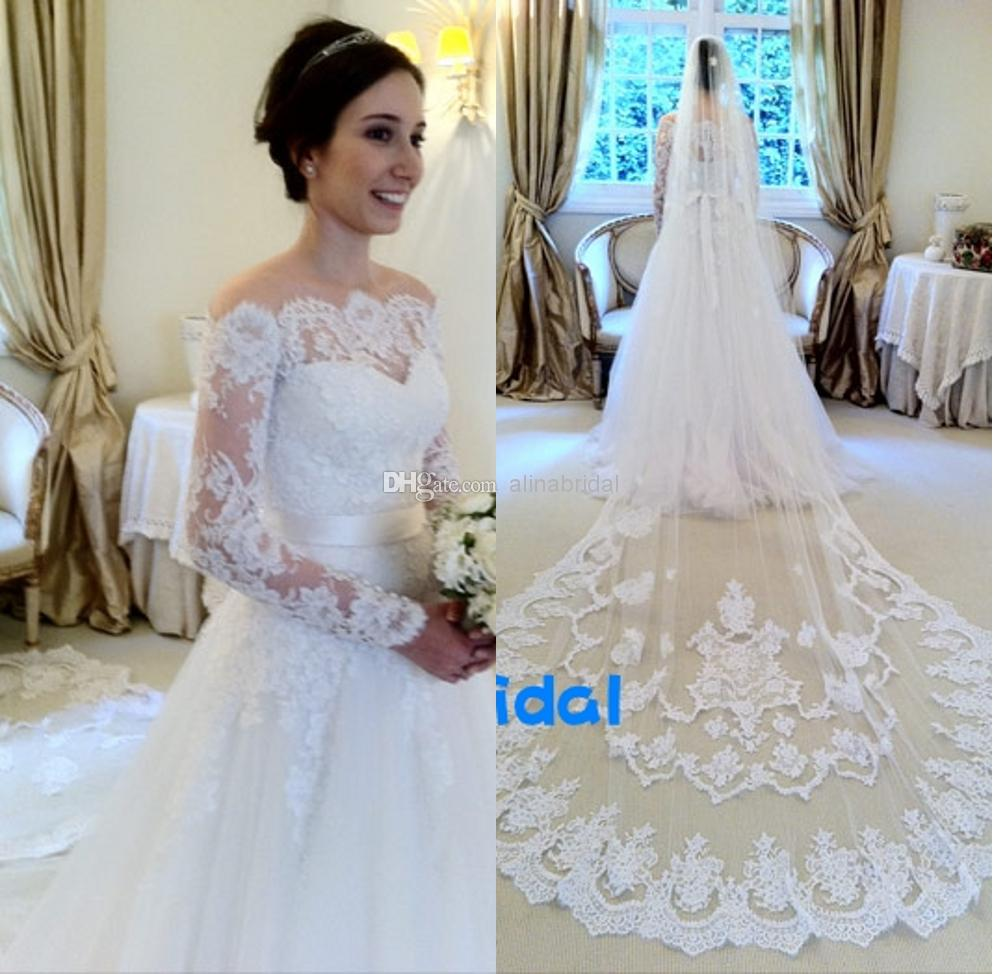 Discount 2016 Lace Wedding Dresses Without Veil Illusion Long Sleeve ...