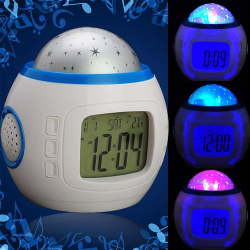 Music Colorful Starry Star Sky LED Projection Projector Light Alarm Clock-White Calendar Thermometer