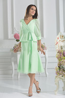 Wholesale Mint Chiffon Shirt - Short Mother Of The Bride Mint Kne-length Mother Dresses For Wedding Guest Pant Suit Green Chiffon 3 4 Sleeve Long Evening Dresses For Woman