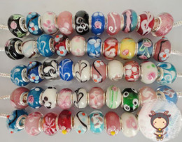 Wholesale High Quality Lampwork Beads Wholesale - Loose beads Free Shipping High-quality 100pcs LAMPWORK GLASS BEADS FIT CHARM BRACELET mix colors glass beads DIY jewelry