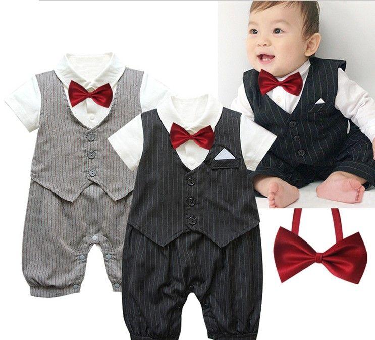 9c4e1b821e69 Doomagic Gentlemen Baby Boys Jumpsuit Pure Cotton Shirts Waistcoat Style  Striped Rompers Bow Tie Babies New Born Wear Infant Toddle D1530 Kids  Romper Child ...