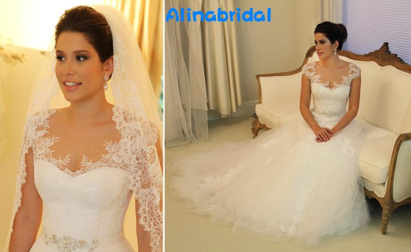 2016 Lace Bröllopsklänningar Vit Scoop Sheer Capped Sleeve A Line Chapel Tåg Beaded Sash Lace Bridal Gowns Wanda Borges Vestidos deivas