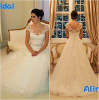 2016 Lace Wedding Dresses White Scoop Sheer Capped Sleeve A ...