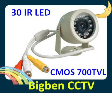 FREE SHIPPING Security CCTV CMOS 700TVL day and night infared Waterproof 30pcs LED CCD BULLET IR Camera with wide angle lens with audio