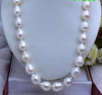 Wholesale Baroque South Sea - New classic 18inches 14-16mm south sea white baroque pearls necklace AAAluster 14K