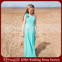 gençler için açık mavi şifon elbiseleri toptan satış-Şirin Genç Gelinlik Modelleri Işık Sky Blue Plaj Düğün A Hattı Spagetti Sapanlar Kat Uzunluk Turquiose Şifon Çiçek Kız törenlerinde