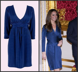 Wholesale New Arrival Dress For Mother - 2014 New Arrival! Kate Middleton! Deep V neck Long Sleeve Knee Length Concise Elegant For Perfect Mother of the Bride Dresses Style